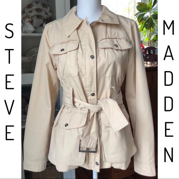 51c7d80f Steve Madden Jackets & Coats | Womens Jacket Size L Belt Pockets ...